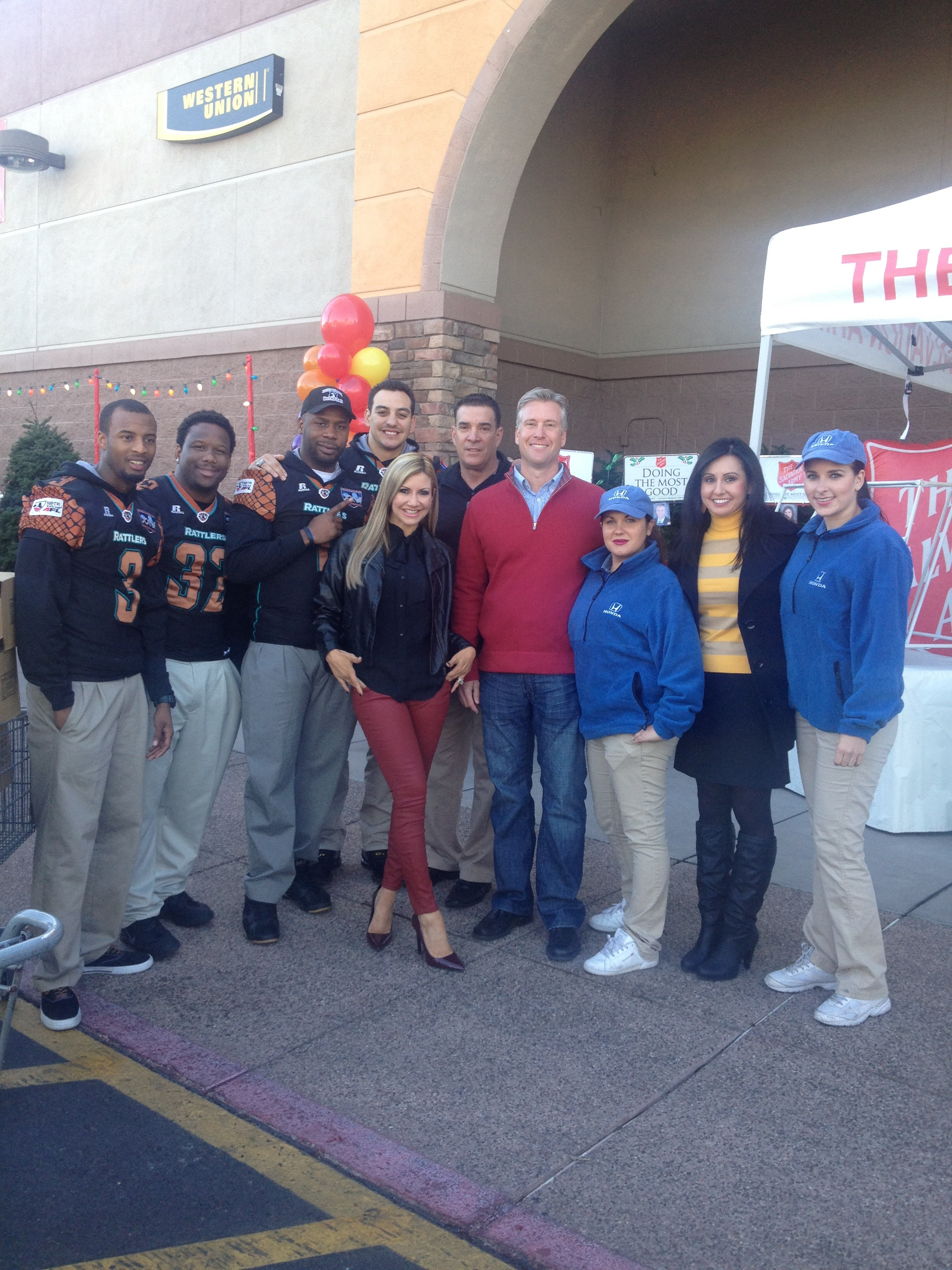 Carey Pena, Fields Moseley and The Arizona Rattlers at a food drive for Salvation Army