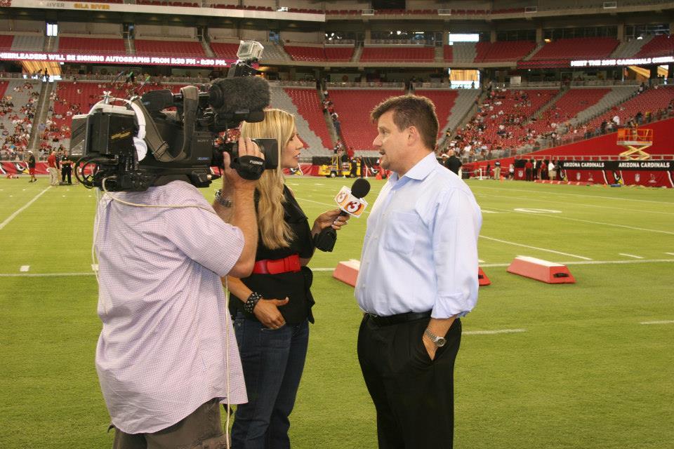 Carey Pena interviews Michael Bidwill at the Cardinals Game