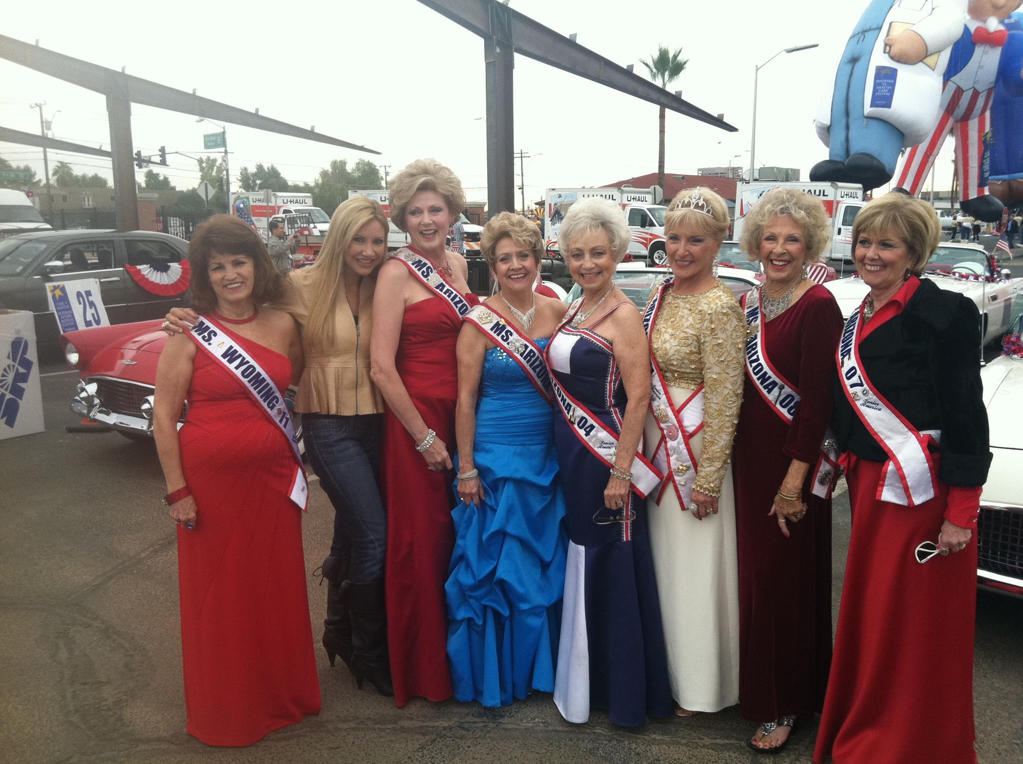 Carey Pena poses with contestants for Ms Senior America
