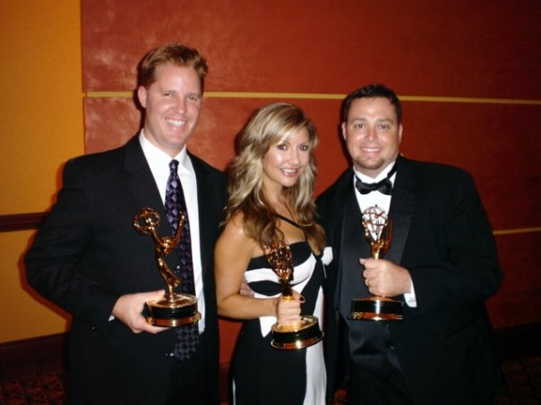 Carey Pena and photographers Mike Harris and Todd Martin at the Rocky Mountain Emmy Awards