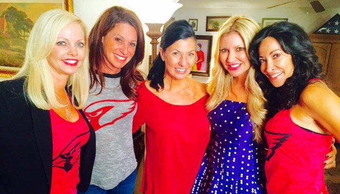 Carey Pena on location with former Arizona Cardinal Cheerleaders