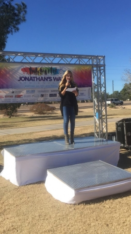 Carey Pena emcees Jonathan's Walk to support children with special needs